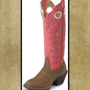 Tony Lama RR2001L Pink and Brown Cowgirl Boots
